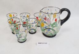 Mid 20th century painted lemonade setwith six glasses and jug, floral painted, a quantity of silver