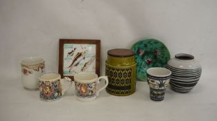 Mixed 20th century ceramics including German black ground vase with white glaze, two Laura Knight