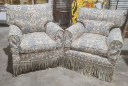 Pair of reproductionarmchairs in the manner of Howard and Sons, in white and blue upholstery, on