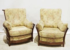 Pair of modern Ercol armchairswith cream ground upholstered seats, backs and arms (2)