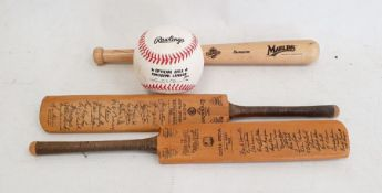 Miniature Crusader cricket bat from South Africa 1955 with facsimile signatures, another West Indies