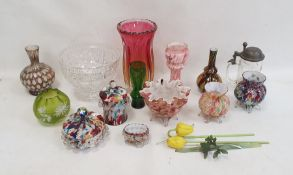 Quantity of mottled 'end of day' glass vases and covered jars, a heavily cut pedestal bowland other