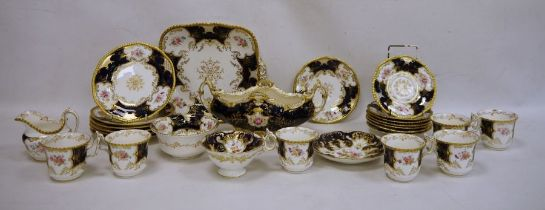 Coalport blue 'Batwing' pattern part dinner and tea service, numbered to reverse Y2665 (on some