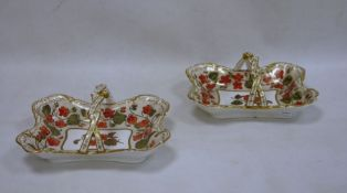 Pair of Spode 'Felspar' porcelain handled rectangular baskets, red pansy decorated with gilt