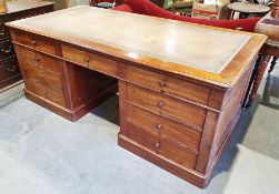 19th century mahogany partner's desk, the rectangular top with rounded corners, moulded edge and