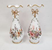 Pair Victorian white opaline glass vases, baluster shaped with frilled everted rim, each handpainted