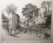 """HaroldSayer (late 20th century school) Pair of engravings """"Dingle's Cot"""" and """"The Dovecot"""","""