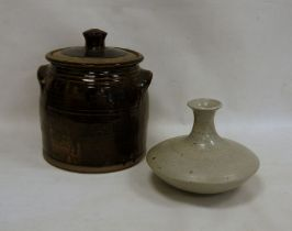 Studio pottery vasein light grey, circular flared shape (no markings to base), 20cm high and a
