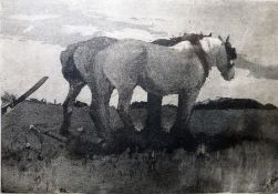 H Green Aquatint Two carthorses, signed in pencil lower right