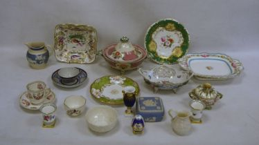 Mixed lot of 18th/19th century china to include teacup and saucer, Copeland floral decorated cup and