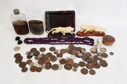 Quantity sundry world coins, part leather-bound spirit flask, simulated tortoiseshell miniature tray