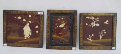 Set of three Japanese lacquer, ivory and mother-of-pearl pictures, variously man in a garden,