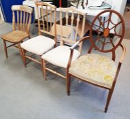Five assorted chairsto include shell inlaid example (5)