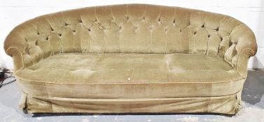 Early Victorian sofa in green dralon upholstery, on turned and gilt front legs to white china