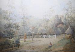 "L A Taylor (British school, 20th century) Watercolour ""Sutton Park, Warwickshire"", figures by a"