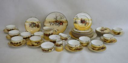 Royal Doulton china seriesware 'Coaching Scenes' tea set, mainly for 12, viz:- 11 cups and