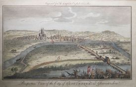 """Coloured engraving """"Prospective View of the City of Gloucester in Gloucestershire"""", 19cm x 30cm"""