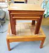 Nest of three mid-century teak modern coffee tablesand a further tile-top mid-century modern coffee