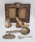 Victorian silver-mounted and glass scent bottlein suede case, Birmingham, marks worn, a