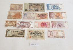 Folder of old banknotes, various