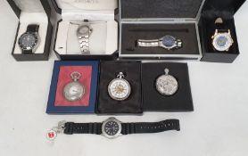Quantity of modern gentleman's pocket watches and wristwatches to include Zurich Quartz watch, World