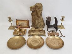 Brass inkstand with two inkwells, iron shoe last, brass-mounted perpetual calendarand other brass