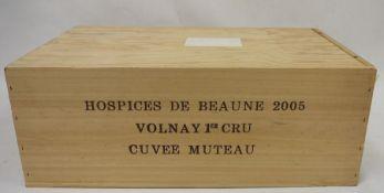 One case (box 12 bottles) Hospices de Beaune 2005, Volnay Premier Cru, Cuvee Muteau Condition