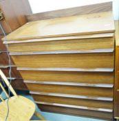 Mid 20th century modern teak chestof six drawers, to plinth base, 82cm x 102cm approx.