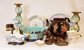 "Large treacle glazed teapot, a James Kent Longton ""Pearl Delight"" part-dinner service, a large"