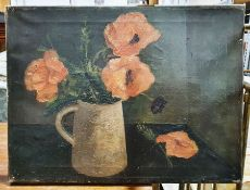 Early 20th century Oil on canvas Still life - Poppies, unsigned together witha large quantity of