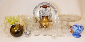 Poole pottery cups and saucers, a brass teapot, glass witch's ball together with various glass and