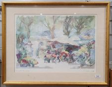 """After Pierre Jean Llado """"Les Jardins de Sophie"""" together with a Japanese print on silk (2)"""