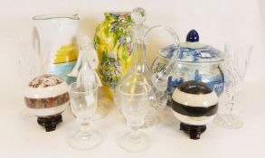 Dartington glass tazza, pair of marble balls together with various china and glassware (1 box)