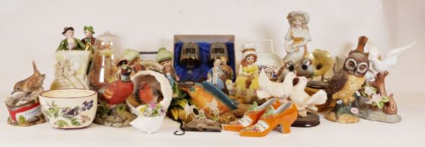 Large quantity of ceramic bird models, a Kodak Brownie Twin 20 camera together with various china