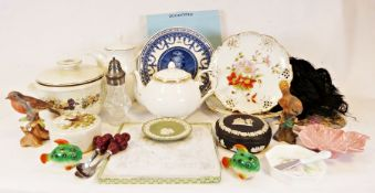 Large Denby vase, numerous collector's plates, a Wedgwood jasperware lidded trinket box together