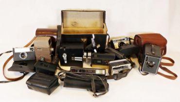 Collection of nine vintage cameras and cine camerasincluding ell & Howell 6248mm cine camera (