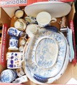 Modern Chineseblue and white vase, various meat trays and assorted chinawares (2 boxes)