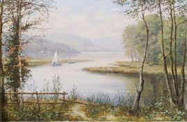 Suppers? Oil on canvas Lake scene with sailboats, signed lower right together with After Paul