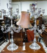 Pair of white metal modern candelabra, arranged in two tiers