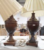 Pair of modern wooden urn-shaped table lamps (2)