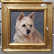 """Henrietta Jordan Oil on board """"Bo Beep"""",Painting of a terrier,together with Two further"""