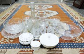 Cut glass decanter together with various glassware and linen (2 boxes)