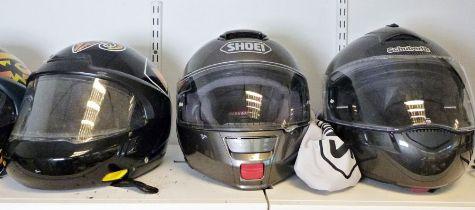 Schuberth limited edition carbon-fibre crash helmet, a Shoei safety helmet, a vintage Bell Super