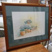 Gail Mylne Watercolour of plant pots in a garden, signed and dated '97 lower left, together with
