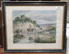"""After D Wolstenholme Hand coloured print """"Hunting - The Death"""", together with James Grieg"""