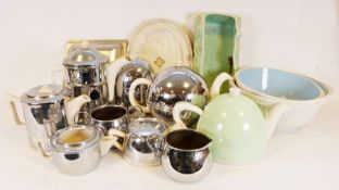 Four Ever Hot teapots, Carltonware Rouge Royale bowl, various Art Deco glassware together with