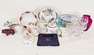 Fortnum & Mason pot, a Bath aqua glass vaseand various other glass and china wares(1 box)