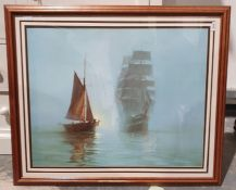 After Montague Dawson Print of a tall mast ship together with a Japanese woodblock print,a