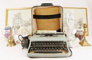 "Olivetti Lettera 22 typewriter, Royal Worcester ""Bacchanal"" teapot, a studio pottery lidded tureen"
