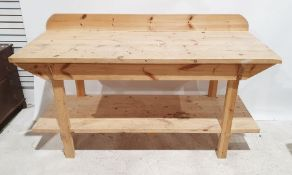 Large pine work benchCondition ReportHeight to top level 91cm Width 179cm Depth 73cm